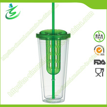 20 Oz Plastic Infused Tumbler with Straw and Cover