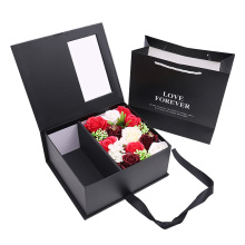 Custom luxury gift packaging preserved rose bouquet flower box