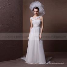 Terse Sweet Corazón Correas Amplias Con Corsage Plisado Beach Wedding Dress