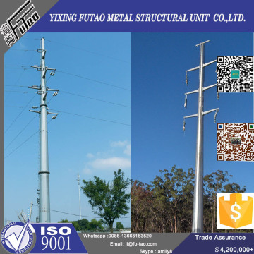 132Kv High Voltage Electric Polygonal Steel Pole