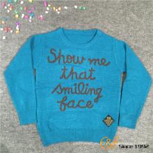 100% viscosa TT Hilado de dos colores jacquard cuello redondo mangas largas suéter para niños