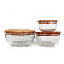 350ml 720ml 1240ml lunch box Microwave oven safe glass fruit salad bowl set with bamboo lid