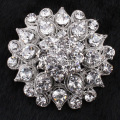 60mm Lovely Clear Rhinestone Brooch zinc alloy metal flower Brooches for women silver color