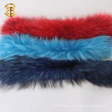 Collar real coloreado de la piel del mapache de China modificado para requisitos particulares