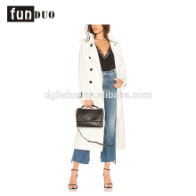 mulheres moda branca casaco longo casaco botão elegante para as mulheres