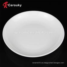Plato de cerámica microonda de la sopa blanca llana blanca del precio barato