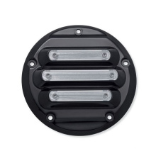 Gloss Black Anodized Machine Cut Finish Aluminum H Motorcycle Engine Derby Cover