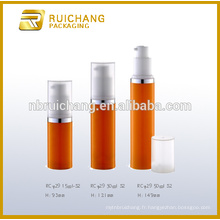15ml / 30ml / 50ml pp bouteille sans cosmétiques en plastique sans air, bouteille ronde en plastique sans air, bouteille de crème cosmétiques