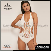 Women Halter One Piece Crochet Plus Size Swimwear