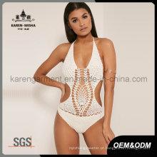 Mulheres Halter One Piece Crochet Plus Size Swimwear