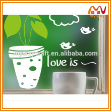 2016 cute potted plant decorative stickers for glass