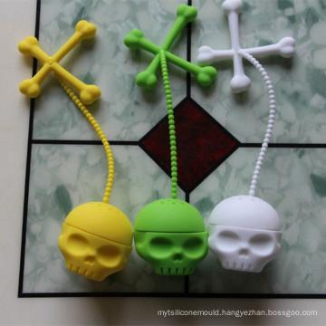 New Style Fancy Creative Skull Shape FDA Silicone Tea Infuser