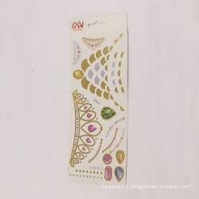 Designs golden silver flash bone sticker,woman temporary tattoo body art flash tattoo sticker
