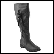 Botas planas de la rodilla de las señoras planas del talón ancho de la moda (HCY02-1527)