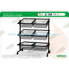 Impulse Supermarket Shelf Display Black Powder Coated , 6 Basket