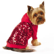 Sequin Dog Pullover Sweatshirt Red / Custom Dog Hoodies Apparel For Small Dogs