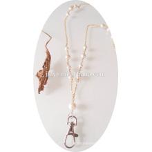 Lanière blanche de perle de lanière de perle de chaîne d'or de mode de mode