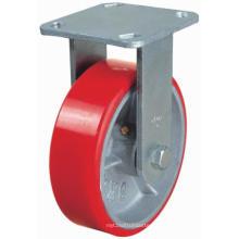 PU fixée sur roulette en fonte (rouge)