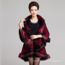Woman Fashion Space Dyed Faux Fur Winter Knitted Shawl (YKY4472)
