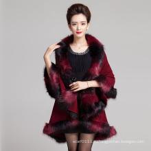 Женщины мода пространство окрашенные искусственного меха зимние вязаные шали (YKY4472)