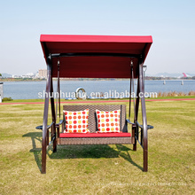 Nice design metal rattan swing chair double seater hanging chair with canopy garden furniture