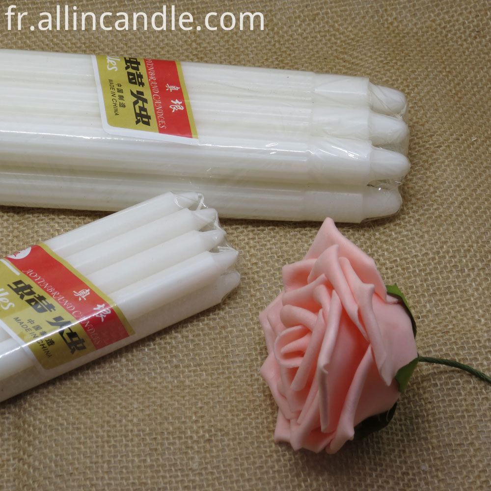 white fluted candles