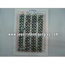 Half drilled pearl AAA grade 6mm, black