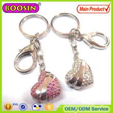 Lover′s Gift! Golden CZ Stone Heart Shape Keychain
