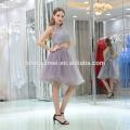 2017 Hot sell sleevless knee length grey color big size women dress evening dress with zipper design