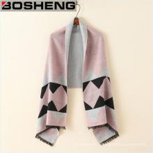 100% полиэстер женщин толстый теплый шарф шаль