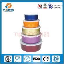 Caja de almacenamiento de alimentos de acero inoxidable colorido 5pcs