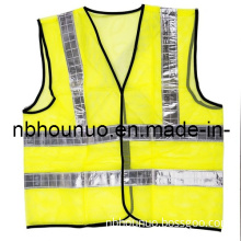 Reflective Safety Vest, Workwear Made of Fluorescent Orange Fabric, High Visibility Clothing