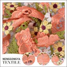 Oem diferentes tipos de tejidos bordados decorativos stretch tejido de tul