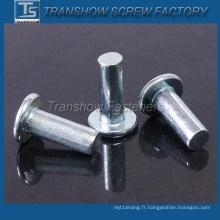 Rivet solide galvanisé à tête plate en acier