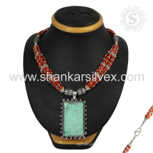 Scrumptious Koralle u. Türkis Edelstein silberner Halskettengroßverkauf 925 Sterlingsilberschmucksache-indische Schmucksachen
