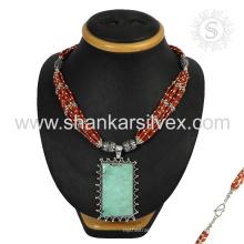 Вкусный коралловый и бирюзовый драгоценных камней серебряный ожерелье, оптовая 925 ювелирные изделия стерлингового серебра индийский ювелирные изделия