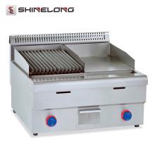 Utensilios de cocina para uso profesional Plancha de planchar con plancha de acero inoxidable con plancha de gas Lava Rock Grill Griddle