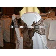 Ceinture de chaise d'organza cristal pour banquet de mariage ang