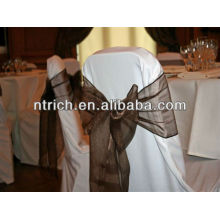 Faixa de cadeira de organza cristal para o banquete de casamento ang