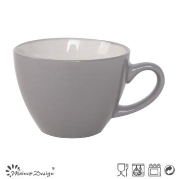 Taza de sopa de cerámica de 8 oz Interior blanco exterior gris