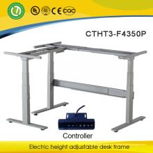 El escritorio eléctrico de la forma de la posición de L se sienta el escritorio ajustable de la altura del escritorio del uso en un escritorio de la rueda de ardilla