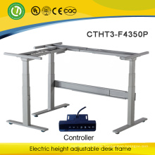 L shape motorized adjustable height desk Electric lift mechanism sit and standing office desk