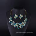 Flower Ivne Sopphire Rhinestone and Crystal Necklace Set