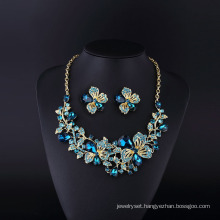 Flower Ivne Sopphire Rhinestone and Crystal Necklace Set