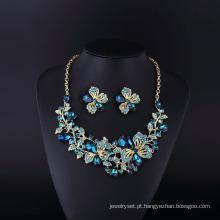 Flor Ivne Sopphire Rhinestone e conjunto de colar de cristal