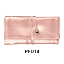 Pink hand satin makeup case with rolling tie