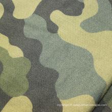 Tissu en flanelle 100% coton brossé avec motif camouflage imprimé