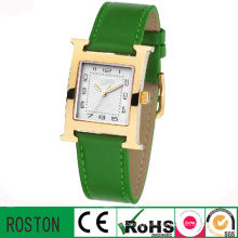 Square Case Brown Leather Watches Men