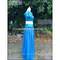 Elegantes blaues Chiffon- ein Linie Beatu-Kurzschluss-Hülsen-Abschlussball-Kleid-Oberseiten-Spitze-Frauen-langes Kleid für Abschlussball