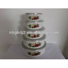 5pcs enamel storage bowl sets with plastic lid 5pcs enamel storage bowl sets with plastic lid